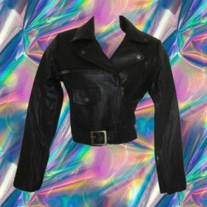 Jackets & Blazers - nwot cropped leather jacket black biker size small
